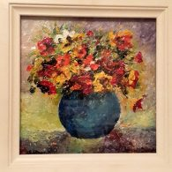 Nasturtiums (Blue Vase) Framed