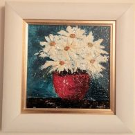 Daisies in a Red Vase